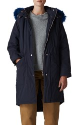 Whistles Megan Water Repellent Parka With Faux Fur Trim Navy