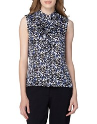 Tahari By Arthur S. Levine Printed Ruffle Woven Top Black Royal