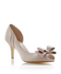 Untold Daffodill Satin Peeptoe Stiletto Court Shoes Taupe