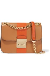 Michael Michael Kors Sloan Editor Medium Two Tone Leather Shoulder Bag Tan