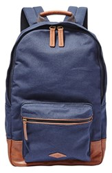 Fossil Men's 'Estate' Canvas Backpack Blue Navy