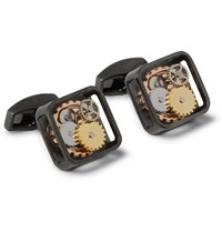 Tateossian Gunmetal Tone Cufflinks Black