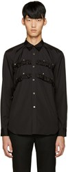 Comme Des Garcons Black Studded Ruffle Shirt