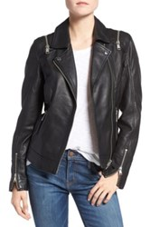 Andrew Marc New York Emmy Zip Off Sleeve Genuine Leather Jacket Black