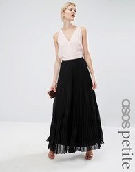 Asos Petite Pleated Maxi Skirt Black