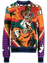 Dolce And Gabbana Graphic Sweatshirt Orange