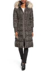 Tahari Women's Elizabeth Faux Fur Trim Hooded Long Coat