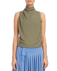 Atlein Draped Mock Neck Sleeveless Top Blue Green Blue Green