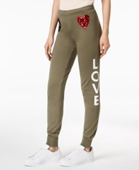 Love Moschino Peace Graphic Print Jogger Pants Green