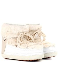 Inuikii Rabbit Low Fur Lined Leather Boots White