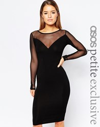 Asos Petite Plunge Body Conscious Midi Dress With Contrast Mesh Black