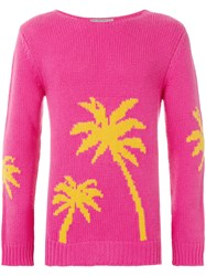 Ermanno Scervino Palm Tree Intarsia Sweater Pink And Purple
