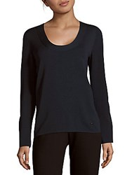 Akris Solid Knit Top Navy