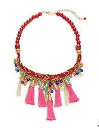 Catherine Stein Beaded Tassel Necklace Multi