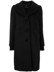 Twin Set Buttoned Single Breasted Coat Black