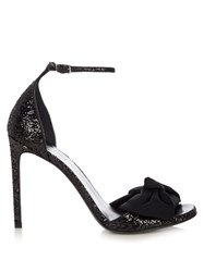 Saint Laurent Jane Bow Detail Glitter Sandals Black