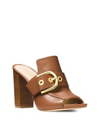 Michael Michael Kors Cooper Buckled Leather Mules Luggage