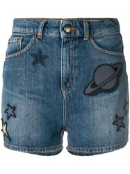 Emporio Armani Space Patch Denim Shorts Blue