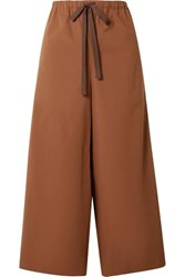 Theory Cropped Stretch Cotton Poplin Wide Leg Pants Brown