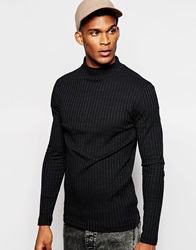 River Island Ribbed Turtle Neck Black