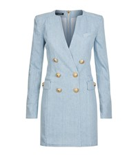 Balmain Denim Gold Button Long Sleeve Dress Female Blue