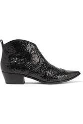 Tomas Maier Paneled Glittered Leather Ankle Boots Black