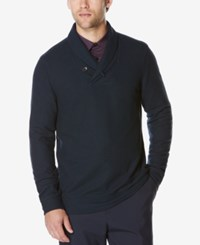Perry Ellis Men's Lightweight Shawl Collar Sweater Dark Sapphire