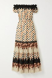 Miguelina Bhati Off The Shoulder Crochet Trimmed Printed Cotton Voile Maxi Dress Brown