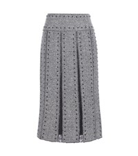 Valentino Embellished Wool And Lace Skirt Grey