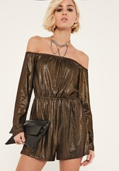 Missguided Bronze Metallic Bardot Playsuit