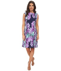 Adrianna Papell Photoreal Floral Placed Print Navy Multi Women's Dress Blue