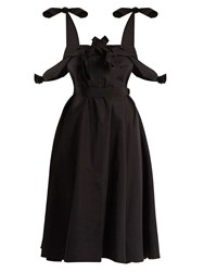 Maison Rabih Kayrouz Tie Waist Cotton Poplin Dress Black
