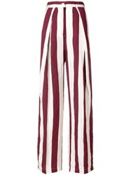 Aspesi Striped Wide Leg Trousers Nude And Neutrals