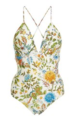 Lenny Niemeyer Plunge Crossover Back One Piece Swimsuit Floral
