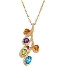 Lord And Taylor Diamonds Citrine Amethyst Garnet Peridot Swiss Blue Topaz Pendant Necklace Yellow Gold