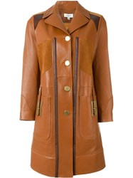 Coach Panelled Coat Brown
