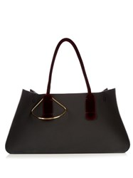 Roksanda Ilincic Contrast Handle Leather Tote Black Burgundy