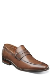 Florsheim Postino Apron Toe Textured Penny Loafer Cognac Leather