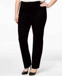 Charter Club Plus Size Flocked Scroll Print Pants Only At Macy's Deep Black Combo