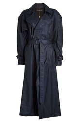 Ellery Illustrated Woman Trench Coat Blue