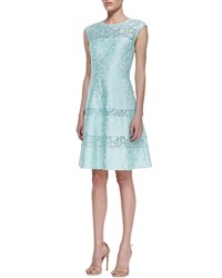 Kay Unger New York Tiered Lace Cap Sleeve Cocktail Dress Mint