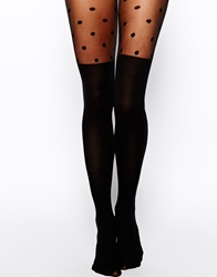 Asos 40 Denier Tights With Polka Dot Over The Knee Design Black