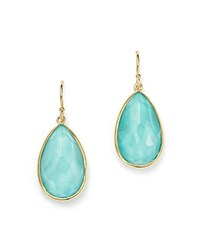 Ippolita 18K Yellow Gold Rock Candy Turquoise And Clear Quartz Doublet Teardrop Earrings Blue Gold