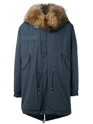 Mr And Mrs Italy Long Parka Men Cotton Lamb Skin Polyester Raccoon Dog S Blue