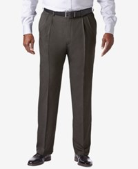Haggar Men's Big And Tall Cool 18 Pro Classic Fit Stretch Pleated Dress Pants Charcoal Heather