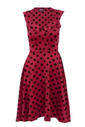 Feverfish Flock Polka Dot Dress Red