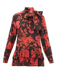 Valentino High Neck Floral Print Silk Blouse Black Red