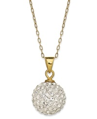 Unwritten 14K Gold Over Sterling Silver Necklace Crystal Pave Ball Pendant