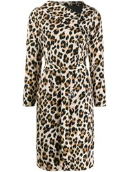 Boutique Moschino Leopard Print Midi Dress Neutrals