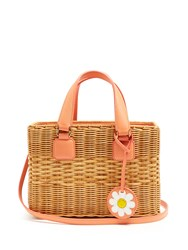 Mark Cross Manray Small Rattan And Leather Tote Pink Multi
